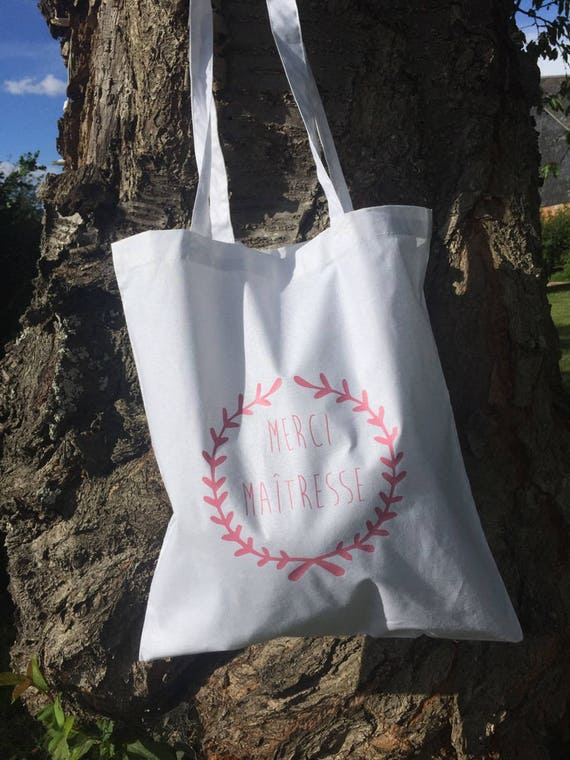 "Tote bag white ""thank you teacher @"""
