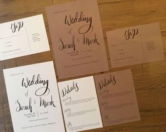 SAMPLE Calligraphy Wedding Invite set