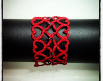"""Wide Bracelet """"reflection of the heart"""" red tatting by Filartistique"""