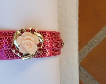 Bracelet Noosa Chamana/leather/flowers/enamel/Crystal/pink/glitter/wrist/bracelet/jewelry/gift/cabochon/button/charm European/party/silver