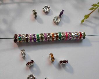 20 multicolored rhinestone - silver beads and rhinestones - 7mm