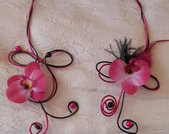 Wedding and bridesmaid color fuschia clouded necklace