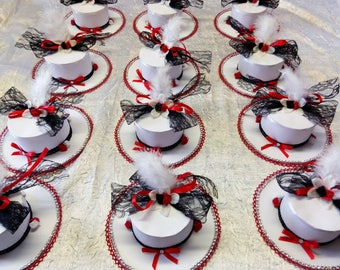 Hat Red/Black and white wedding table decoration