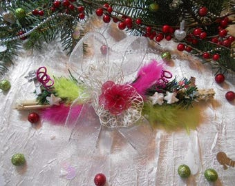 Christmas centerpiece color / sleigh lime Pink / Silver