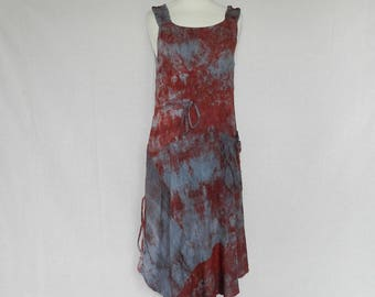 "Dress asymmetrical ""Felix"" red and gray linen and flat straps. Size 38/40"