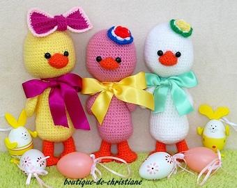 Easter: Three ducklings crochet