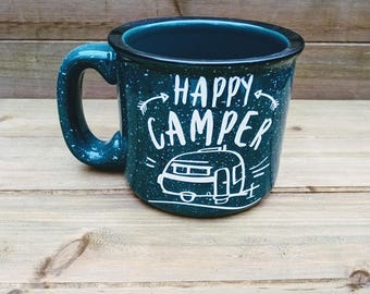Happy Camper Campfire Mug - Camping Mug, Fall Mug, Campground, Winter Coffee Mug, Winter Mug, Coffee Lover Gift, Winter, Gift, Winter Decor