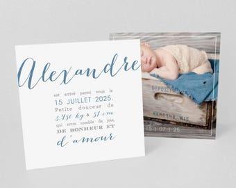 Lot de Faire-part de naissance/baptême imitation Letter Press, Rose, bleu ou autre - Modèle Margaux ou Alexandre