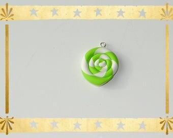 spiral green lime/white 2 cm in diameter