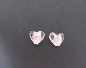 Lot of 2 small heart beads pink and white glass