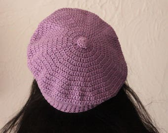Beret with purple cotton crochet