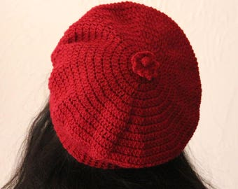 Beret crocheted Burgundy color