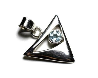 PE112 - 925 sterling silver pendant and stone - Triangle 20mm Blue Topaz
