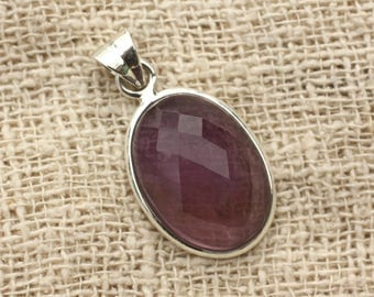 No. 19 - 925 sterling silver pendant and stone - Amethyst oval Facettee 22x15mm