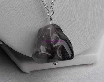 CL.0243 Amethyst Pearl on silver chain necklace