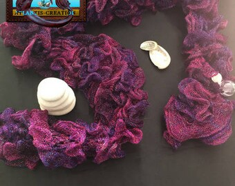 GLITTERING purple scarf - Scarf handmade, made by the island. France