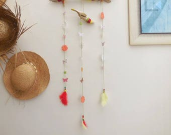 Bohemian feathers and Driftwood style wall decor