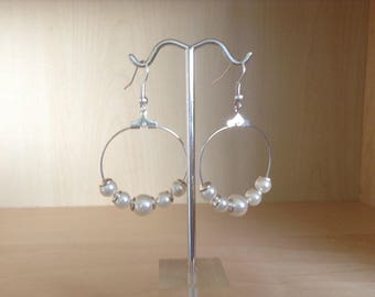 Creole imitation pearls silver plated hooks