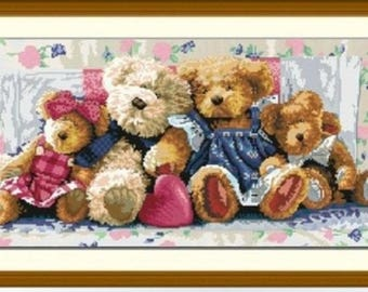 """Canvas collection """"bears family"""" embroidery Kit 71 x 41 cm"""