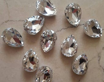 set of 10 large 18 x 13 mm white rhinestones