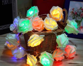 Garland of 20 multicolored roses LED table decoration, wedding...