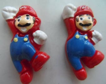 "set of 2 cabochon collection ""Mario Bros"" 35 x 19 mm"