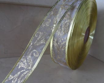 2 meters of white and gold 38 mm organza Ribbon