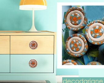 Buttons of furniture in beige, Orange, turquoise and caramel honeycomb patterned