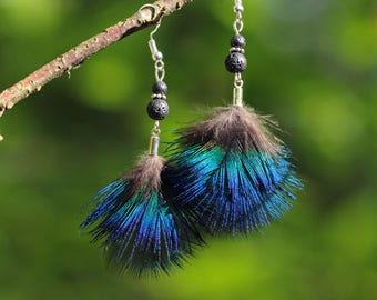 Earrings blue peacock feathers, lava, silver rondelle beads
