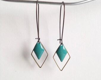 Earrings - diamond - Turquoise