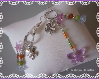 Clover, flowers and butterfly earrings