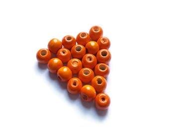 Wooden beads orange x 20