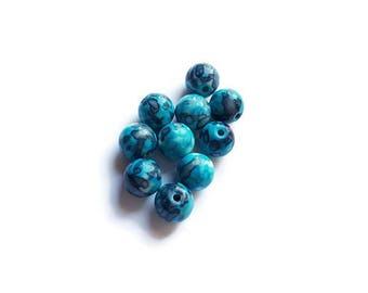 Rain blue x 10 stone round beads