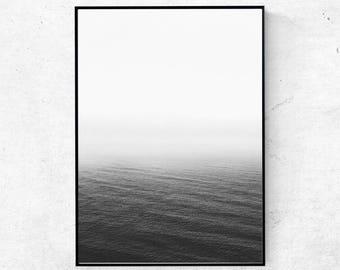 Ocean print, ocean black and white photography, ocean wall art, landscape print, minimalist wall art