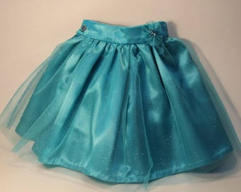Brilliant turquoise blue satin and skirt in turquoise blue tulle glitter 4/5 years and two scrunchies