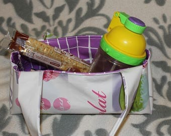Tote bag in oilcloth patterns macarons