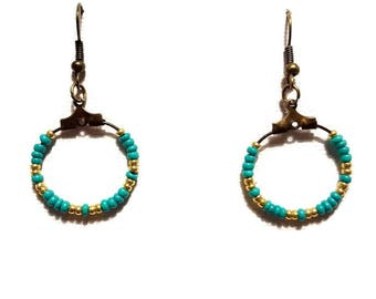 Turquoise and gold seed beads and bronze earrings