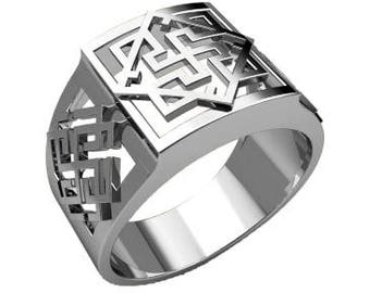 Valkyrie Valkirie Symbol Ethnic Men Ring Sterling Solid Silver 925 SKU30247