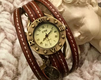 Vintage watch numbers Romain one size Brown leather strap
