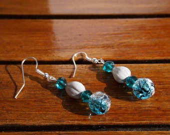 earrings with job's tears, transparent blue cracked glass beads and turquoise blue faceted glass beads