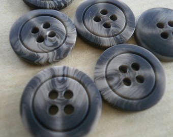 Set of 3 round buttons in plastic, beige and black color, diameter 28 mm