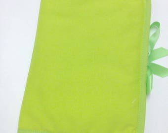 Health Book personalize flocking, applique etc. Lime green fabric to choose outline color.