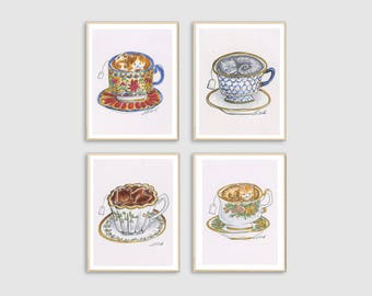 Set of 4 Cat Teacup Printable Art from Lisa Vissichelli Designs