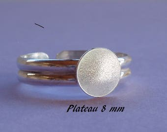 Ring in sterling silver. 925, 8 mm round flat top