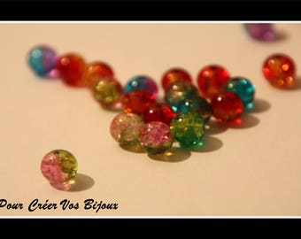 Lot 100 8mm glass beads in different colors