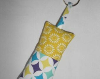 Keychain fabric yellow, blue, purple