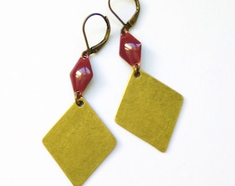 BALI - Earrings bronze diamond and pink raspberry