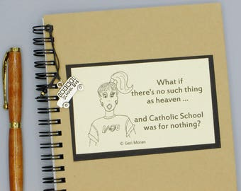 Funny Catholic School Embellished  5x7 Spiral Notebook with School Charm