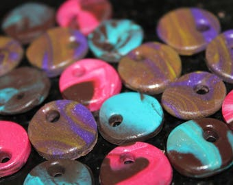 Set of 19 charms polymer clay - handmade - dia. 15 mm
