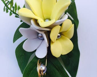 Frangipani and tiare flower clip
